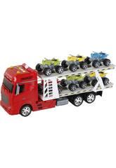 Camion rosso a frizione con rimorchio e 6 veicoli