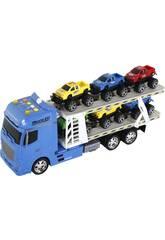 Blauer Reibungs-LKW mit Anhänger und 6 Fahrzeugen