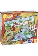 Puzzle Coloreable Animales Selva 24 Piezas y 12 Rotuladores 89.5x82.5cm