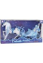 Cavalo Mágico com Carruagem Azul 51 cm.