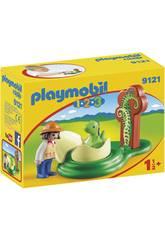 Playmobil 1, 2, 3 Exploratrice et Bébé Dinosaure 9121