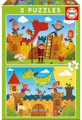 Puzzle 2X48 Dragones y Caballeros Educa 17151