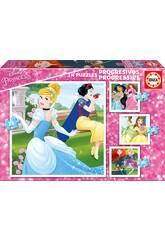 Puzzle Progresivos 12-16-20-25 Princesas Disney Educa 17166