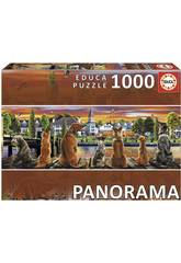 Puzzle 1000 Chiens sur l'embarcaderoPanorama Educa 17689