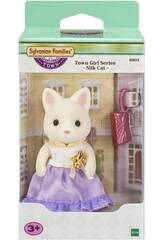 Sylvanian Town Series Cat Silk Girl Epoch para Imagine 6003