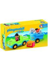 Playmobil 1,2,3 Véhicule avec Remorque