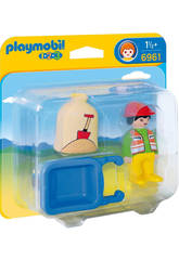 Playmobil 1,2,3 Trabajador con Carretilla 6961