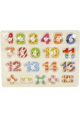 Puzzle Madeira Números e Sinais 20 Peças 2x30x23cm