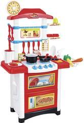Cozinha Vermelha 32 Peças Com Luzes e Sons 87x59x29cm