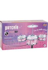Bateria Jazz Rosa 3 Tambores e Pratos
