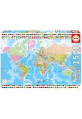 Puzzle 1500 Mapamundi Político 85x60 cm EDUCA 17117