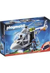Playmobil Hélicoptère de Police avec Projecteur de Recherche 6921