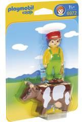 Playmobil 1, 2, 3 Eleveur avec Vache 6972