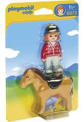 Playmobil 1, 2, 3 Cavalière avec Cheval 6973