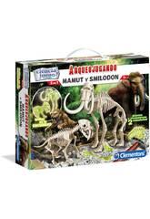 Arqueospielend Smilodon und Mamut Phosphoreszierend