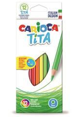 Boîte 12 Crayons de couleur Tita Maxi Hexagonal Carioca 42789