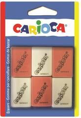 Gommes Carrées 6 unités Carioca 42863