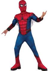 Disfraz Niño Spiderman Con Máscara y Pecho Musculoso Talla S