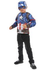 Costume Bambino Capitan America con Maschera metallica e petto muscoloso