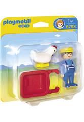 Playmobil 1.2.3 Fermier Avec Brouette