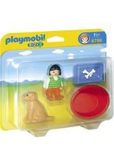 Playmobil 1.2.3 Fille avec Chien