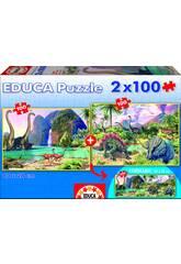 Puzzle junior 2X100 Dino World