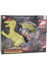 Dinosaure Ailé 32 cm qui Marche, avec Lumière, Son et 3 Oeufs