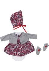 Robe Poupée 36 cm. Fleurs Grises et Rouges Asivil 3403550