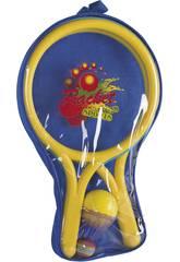 Set 2 Raquetas con Pelota 6.5 cm. y Volantin Badmintong 8 cm.