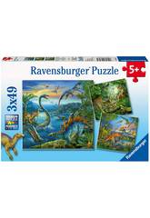 Puzzle Dinosaurios 3x49 Piezas Ravensburger 9317