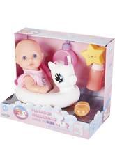 Babypuppe 30 cm. mit Einhorn, Badewanne und Badezimmerzubehör