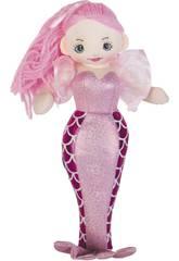 Sirene Rosa Stoffpuppe 30 cm.