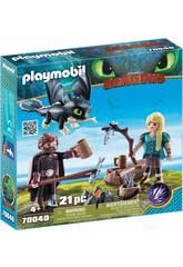Playmobil Como Treinares O Teu Dragão Hiccup e Astrid com Dragão Bebê 70040