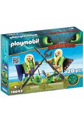 Playmobil Como Treinares O Teu Dragão Brutesco e Brutália com Fato Voador 70042