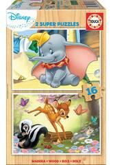 Puzzle 2x16 Disney Animals Dumbo e Bambi Educa 18079