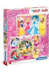 Disney Princess - 2x60 pezzi - Supercolor Puzzle Clementoni 7133