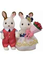 Sylvanian Families Town Set Noivos Stella Chocolate e William Cinnamon Epoch Para Imaginar 5362