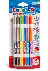 Bi-Color Confezione 12 Pennarelli, a Due Colori, Punta Media, 4 mm Carioca 42265