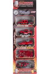 Camion de Pompier Die Cast 7,5 cm. Kit 5 Pièces