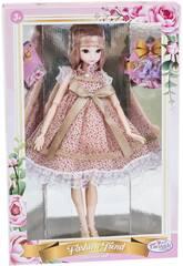 Poupée Style Japonais 29 cm. Robe Roseà Pois