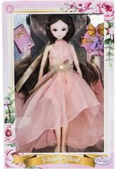 Muñeca Estilo Japón 29 cm. Vestido Rosa Sin Mangas