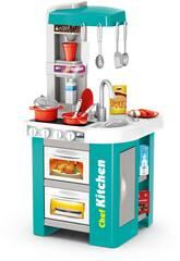 Cozinha 49 Peças Azul com Luzes, Sons e Função Água