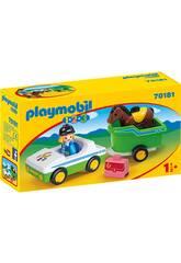 Playmobil 1,2,3 Coche con Remolque de Caballo Playmobil 70181