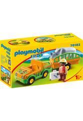 Playmobil 1,2,3 Voiture du Zoo avec Rhinocéros Playmobil 70182