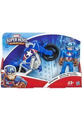 Marvel Super Hero Aventures Capitán América con Moto Hasbro E6262