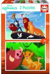 Puzzle 2X48 Roi Lion Educa 18629
