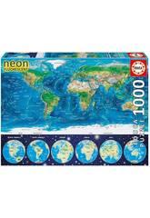 Puzzle 1000 Carte Du Monde Néon Educa 16760Voyagez dans le monde entier grâce à ce nouveau défi sous forme de puzzle! Apportez à la maison l'ingénieux <b> Puzzle 1000 Carte Du Monde Néon d'Educa </b>! Tout le monde sera surpris par le défi où vous devez faire face à un nouveau puzzle de mille pièces avec effet phosphorescent sans avoir à utiliser aucune lumière particulière, rapprochez-le d'une source de lumière et laissez la chambre dans l'obscurité. Rassemblez toutes les pièces pour voir une carte du monde physique avec des annotations et des illustrations de bonne qualité. Produit fabriqué en Espagne. Âge recommandé: + 12 ans. Le kit est composé de: 1 boîte de rangement illustrée, 1 puzzle Carte Du Monde Néon et de la colle FixPuzzle. Nombre total de pièces: 1000 pièces. Dimensions approximatives du puzzle: 48 cm de long et 68 cm de large. Dimensions approximatives de la boîte de rangement: 27 cm de haut, 37 cm de large et 5,5 cm de profondeur. Dimensions approximatives de chaque pièce: 1,5 cm de long et 3 cm de large.