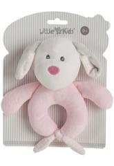 Hund Pink Kinderklapper Plüschtier 18 cm. Creaciones Llopis 25504