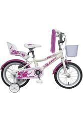 Bicicleta 14 Diana Blanca Rosa con Cesta y Portamuñecas Umit 1471-53