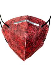 Masque Imprimé Carrés Noirs Sur Fond Rouge Adulte Kamabu 4
